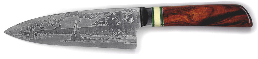 6 inch Chef's Knife with 'Lighthouse with Sailboats' Etching and Desert Ironwood Handle.
