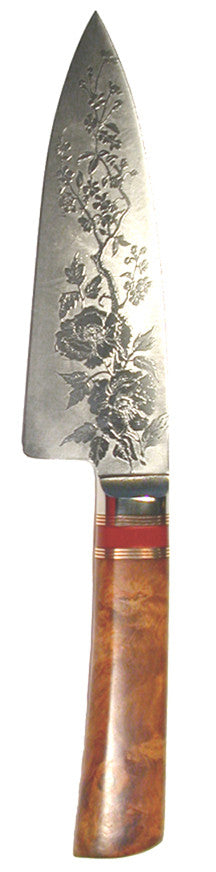 6 inch Chef's Knife with 'Wild Roses' Etching.