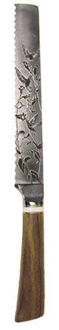 8 inch Bread Knife with 'Hummingbirds' Etching - 2.