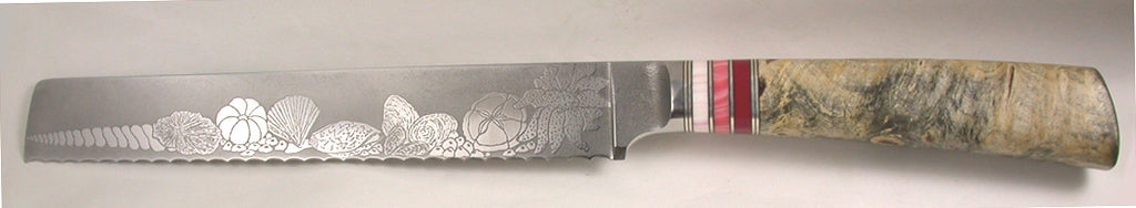 8 inch Bread Knife with 'Sea Shells' Etching.