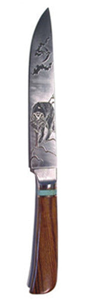 8 inch Carving Knife with 'Wolf' Etching.