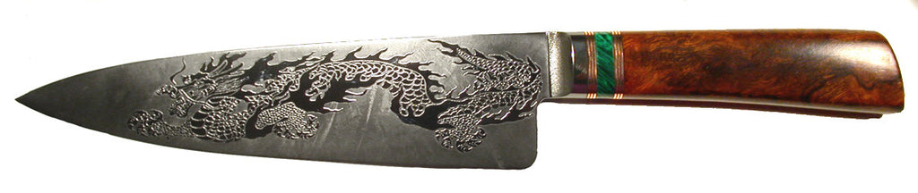 8 inch Chef's Knife with 'Dragon' Etching.