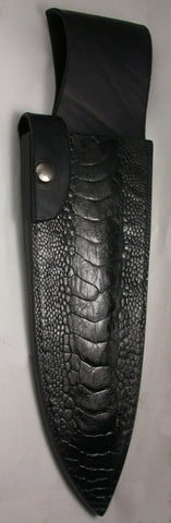 Black Ostrich Belt Sheath for 8 inch Chef's Knife.