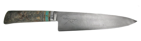 8 inch Chef's Knife with 'Dragonflies and Irises' Etching.