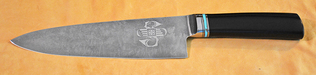 8 inch Chef's Knife with 'Circular Rainbird' Etching.