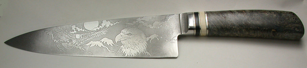 8 inch Chef's Knife with 'Eagles' Etching.