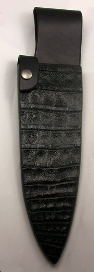 Black Croc Belt Sheath for 8 inch Chef's Knife
