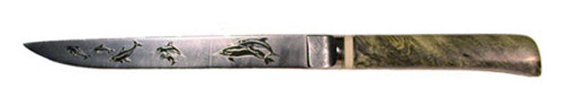 8 inch Stiff Filet/ Narrow Carving Knife with 'Dolphins' Etching.