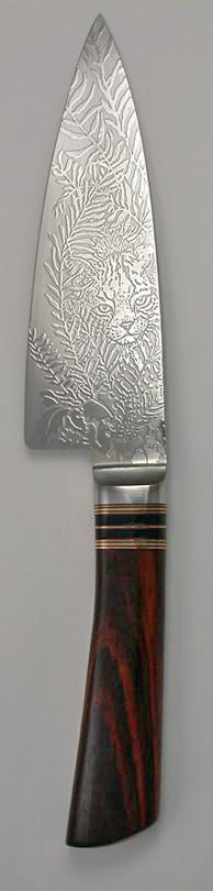 6 inch Chef's Knife with 'Bobcat' Etching - 2.