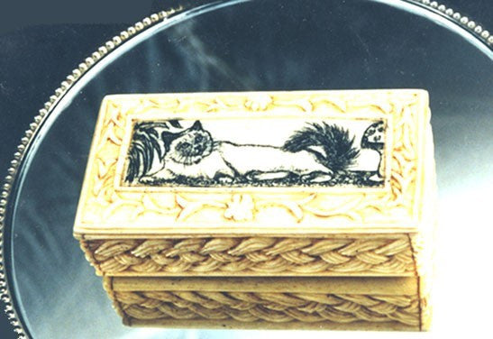Carved Box with Cat Scrimshaw.