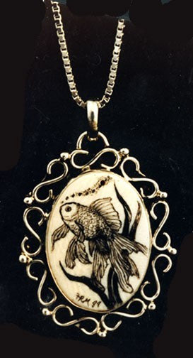 Necklace with Koi Scrimshaw.