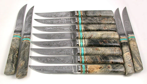 12 Piece Steak/Table Set with Various Etchings.