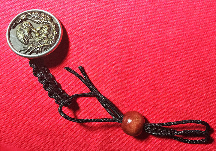 Black Nylon Macrame Lanyard & Antique Brass Button Stamped with Heron Feeding Fish to 2 Young at Nest