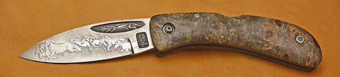 Boye Custom Celtic Horse Lockback Folding Pocket Knife with 'Mustangs' Etching.