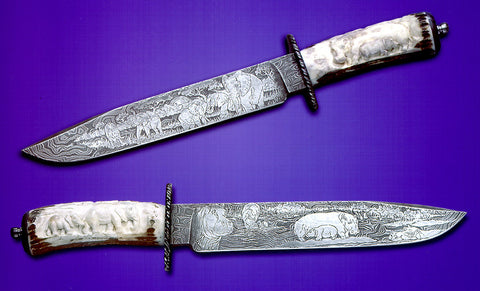 9.75 inch Out of Africa Bowie by Don Norris with 'Elephants' and 'Hippos' Etchings.
