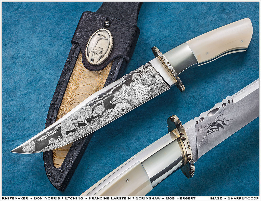 9 inch Don Norris Bowie with Custom Etching of Ostriches.