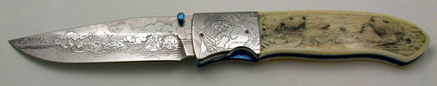 3.75 inch Locking Liner Folder by Don Maxwell with 'Sea Otters' Etchings and Bob Hergert Scrim.