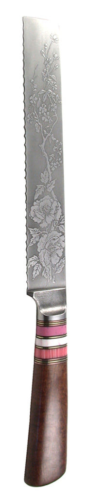 8 inch Bread Knife with 'Wild Roses' Etching.