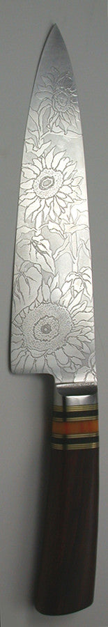 8 inch Chef's Knife with 'Sunflower' Etching.