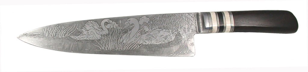 8 inch Chef's Knife with 'Swans' Etching and African Blackwood Handle.