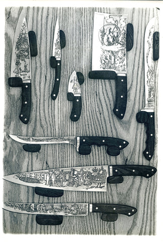 8 Piece Kitchen Set with Alice in Wonderland Custom Etchings by Francine.