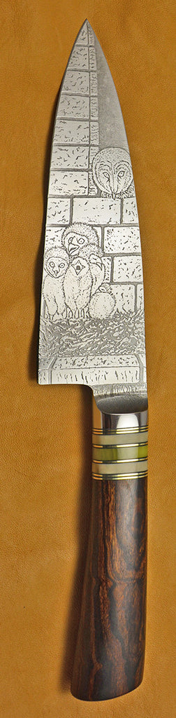 6 inch Chef's Knife with 'Barn Owl Family' Etching and Exhibition Ironwood Handle.