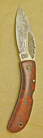 Boye Custom Mountains Lockback Folding Pocket Knife with 'Barn Owl in Flight' Etching.