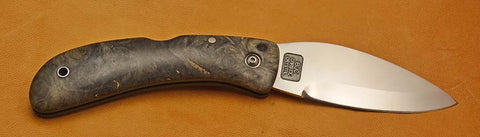 Boye Custom Cobalt Blue Whale Lockback Folding Pocket Knife with Buckeye Burl Handle.