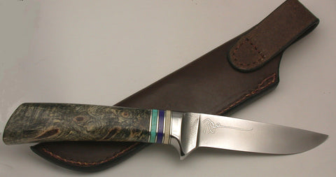 4 inch Dropped Point Hunter with 'Sea Otters' Etching.