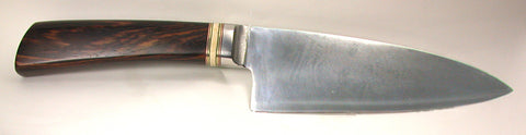 6 inch Chef's Knife with Dendritic Cobalt Blade and Cocobolo Handle.