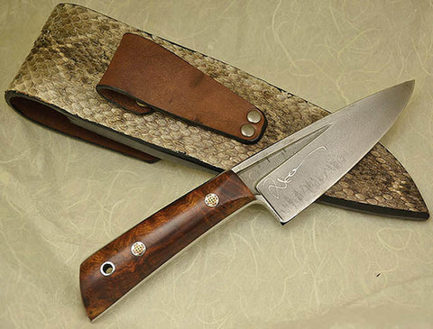 Boye Basic 3 with 'Barn Owl in Flight' Etching and Burled Desert Ironwood Handle.