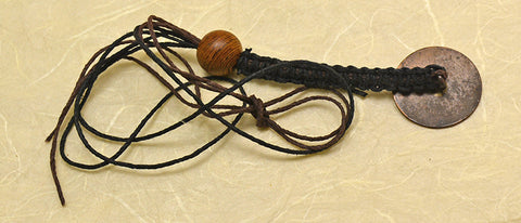 Black and Brown Hemp Macrame Lanyard with 18th Century Colonial Copper Target Button & 2 Color Rings.