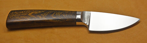 3 inch Dropped Edge Utility Knife with Dendritic Cobalt Blade and Ironwood Handle.