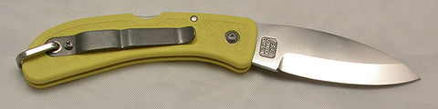 Boye Cobalt Prophet Lockback Folding Pocket Knife with Yellow Handle.