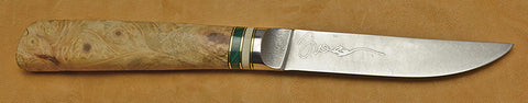 4.5 inch Kitchen Utility Knife with 'Celtic Horse' Etching and Buckeye Burl Handle.