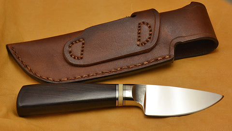 3 inch Dropped Edge Utility Knife with Dendritic Cobalt Blade & African Blackwood Handle.
