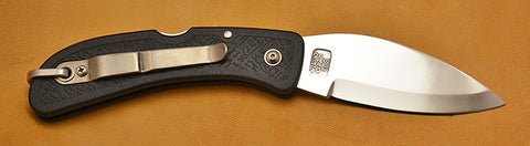 Boye Cobalt Bow Hunter Lockback Folding Pocket Knife with Black Handle.