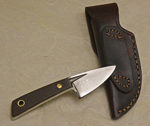 Back Boye Basic 1 with 'Cougar' Etching, Handle and Leather Sheath.