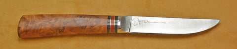 4.5 inch Kitchen Utility Knife with 'Dolphins' Etching with Amboyna Burl Handle.