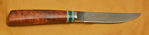 4.5 inch Kitchen Utility Knife with 'Hummingbirds' Etching and Amboyna Burl Handle.