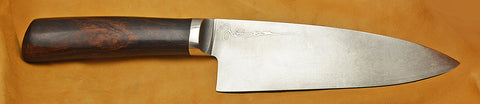 6 inch Chef's Knife with 'Lady Justice' Etching and Desert Ironwood Handle.