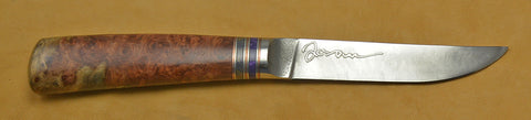 4.5 inch Kitchen Utility Knife with 'Orchid' Etching and Amboyna Burl Handle.