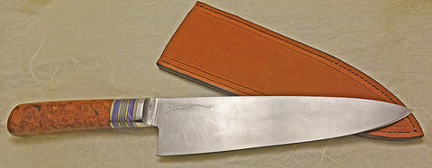 8 inch Chef's Knife with 'Larry's Orchid' Etching.
