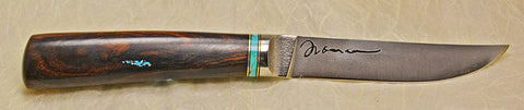 4.5 inch Kitchen Utility Knife with Plain Etched Blade and Exhibition Ironwood Handle with Turquoise Chip Inlay.