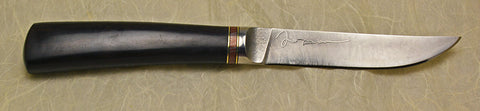 4.5 inch Kitchen Utility Knife with Plain Etched Blade, Mokume Ringset, and African Blackwood Handle-2.