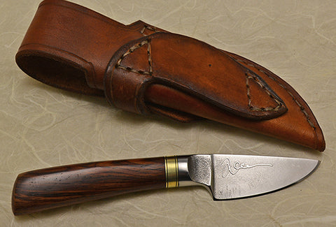 2 inch Dropped Edge Utility Knife with Plain Etched Blade and Cocobolo Handle.