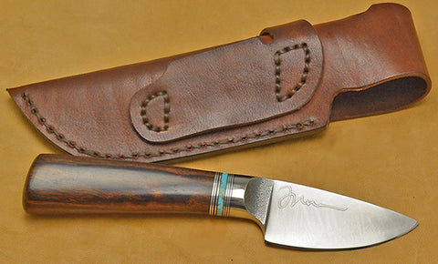 3 inch Dropped Edge Utility Knife with Plain Etched Blade and Desert Ironwood Handle-2nd.