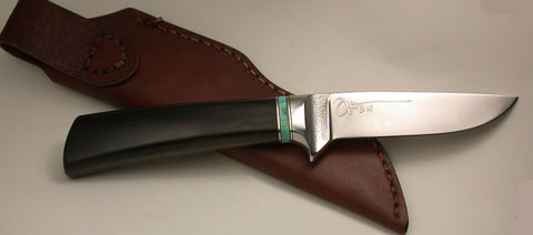 4 inch Dropped Point Hunter with Plain Etched Blade - 2.