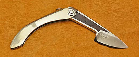 Boye Mini-Tweezerlock Folding Pocket Knife with Plain Etched Blade & Cocobolo Inlay.