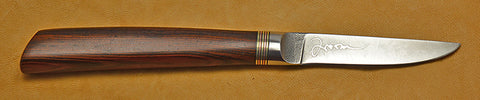 3 inch Paring Knife with Plain Etched Blade and Cocobolo Handle.